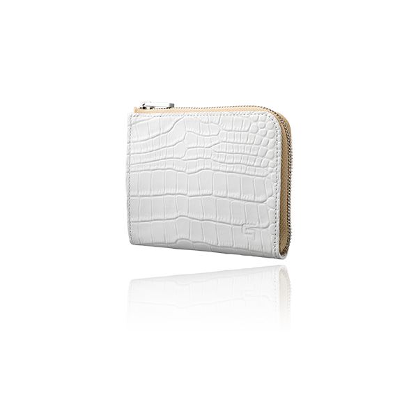 GRAMAS Croco Patterned Genuine Leather L Shaped Zipper mini Wallet GLW-74349