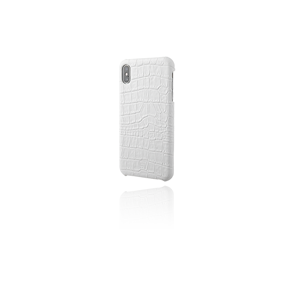 GRAMAS Croco Patterned Genuine Leather Shell Case GSC-72429 for iPhone XS Max White